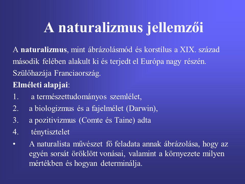 A naturalizmus jellemzői A naturalizmus, mint ábrázolásmód és korstílus a XIX. század második felében alakult ki és terjedt el Európa nagy részén. Szü