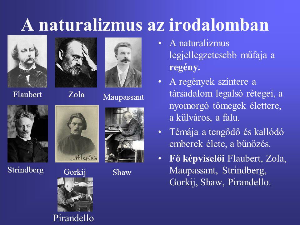 A naturalizmus az irodalomban A naturalizmus legjellegzetesebb műfaja a regény. A regények színtere a társadalom legalsó rétegei, a nyomorgó tömegek é