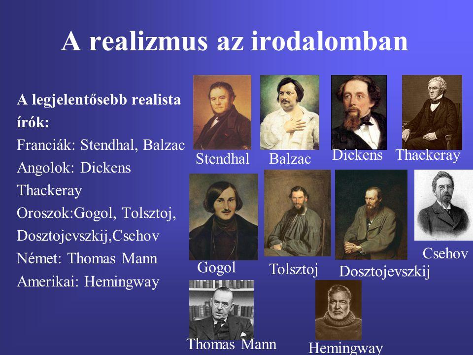 A realizmus az irodalomban A legjelentősebb realista írók: Franciák: Stendhal, Balzac Angolok: Dickens Thackeray Oroszok:Gogol, Tolsztoj, Dosztojevszk