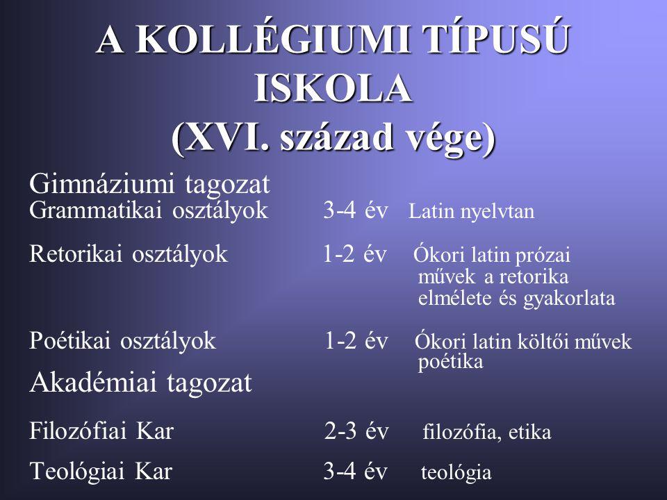 A KOLLÉGIUMI TÍPUSÚ ISKOLA (XVI. század vége) Gimnáziumi tagozat Grammatikai osztályok 3-4 év Latin nyelvtan Retorikai osztályok 1-2 év Ókori latin pr
