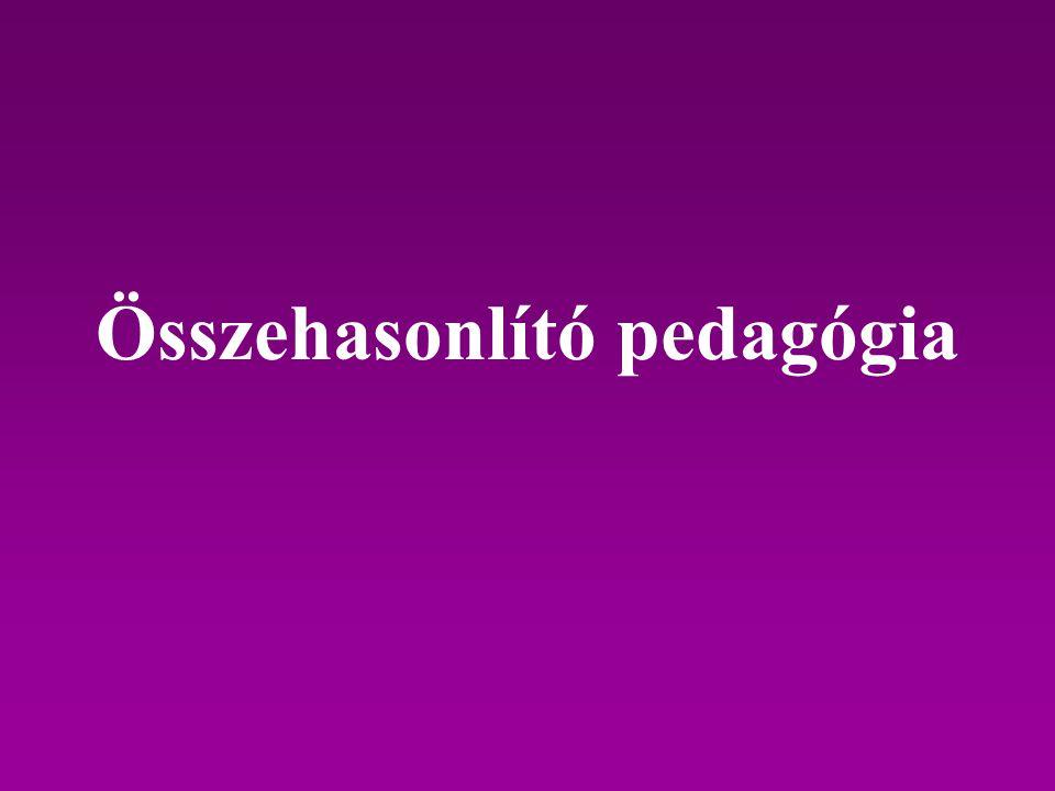 Fogalma Az összehasonlító pedagógia a neveléstudományok közé tartozó tudomány, mely oktatási jelenségeket és tényeket vizsgál, az oktatási környezettel való kapcsolatukban.