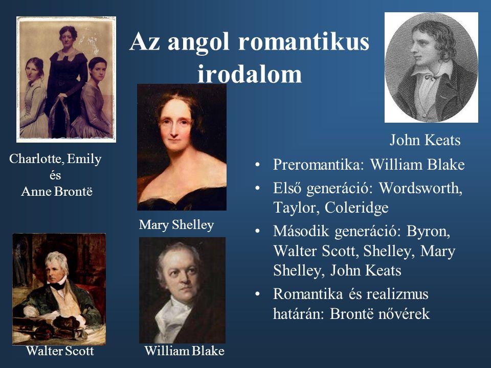 Az angol romantikus irodalom Preromantika: William Blake Első generáció: Wordsworth, Taylor, Coleridge Második generáció: Byron, Walter Scott, Shelley