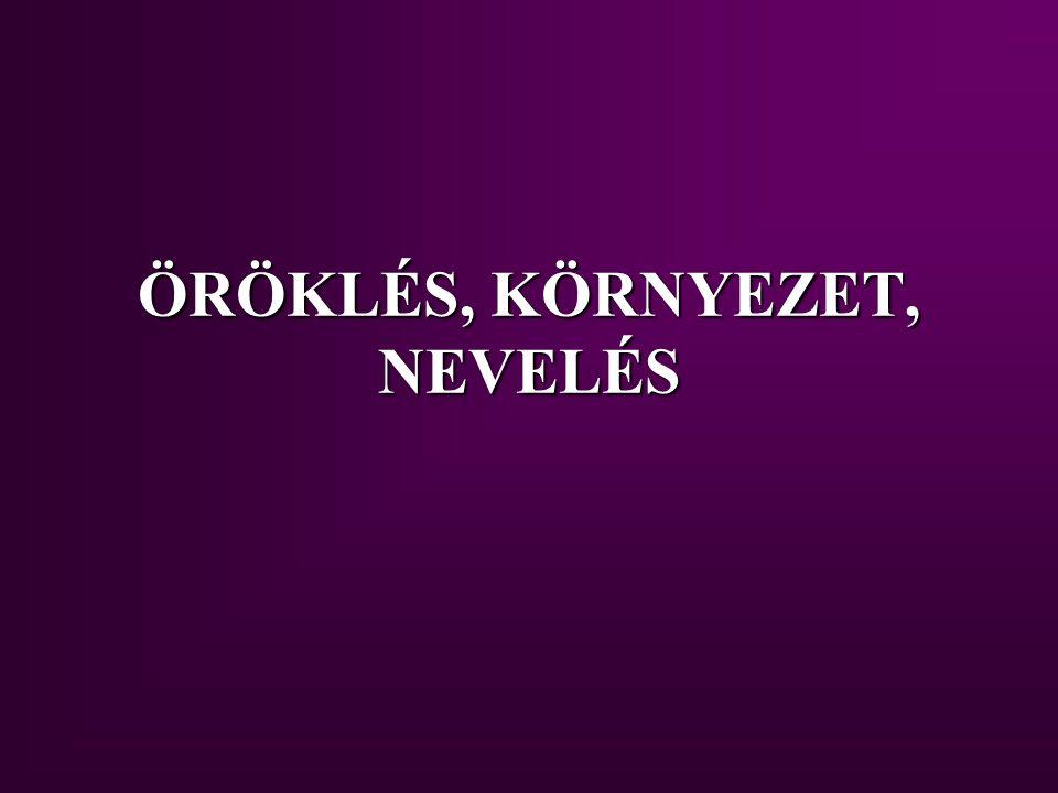 ÖRÖKLÉS, KÖRNYEZET, NEVELÉS