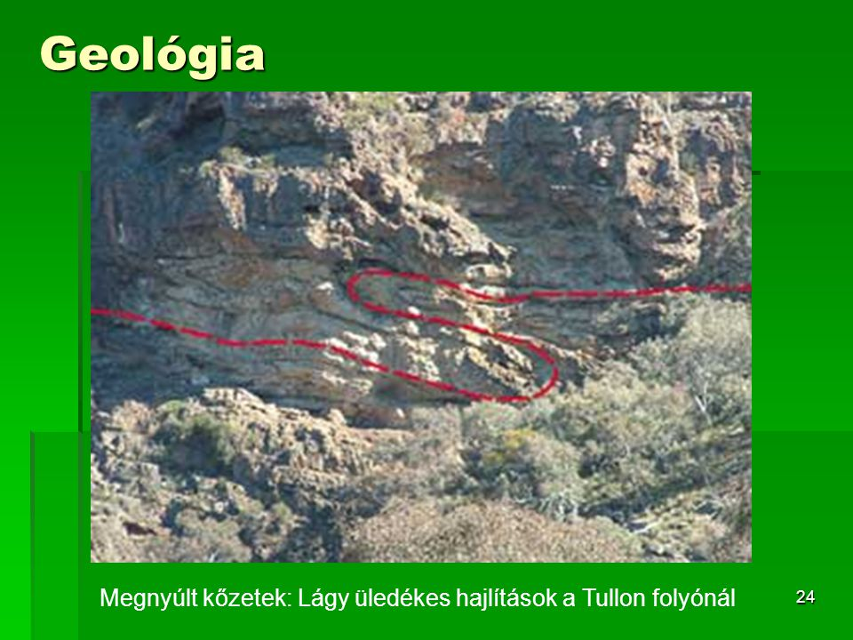 24 Geológia Megnyúlt kőzetek: Lágy üledékes hajlítások a Tullon folyónál