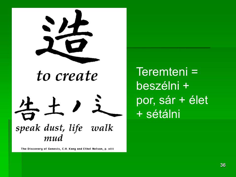 36 Teremteni = beszélni + por, sár + élet + sétálni