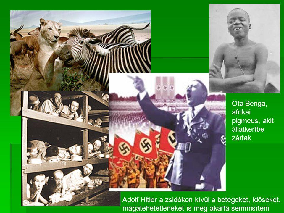 Ota Benga, afrikai pigmeus, akit állatkertbe zártak Adolf Hitler a zsidókon kívül a betegeket, időseket, magatehetetleneket is meg akarta semmisíteni