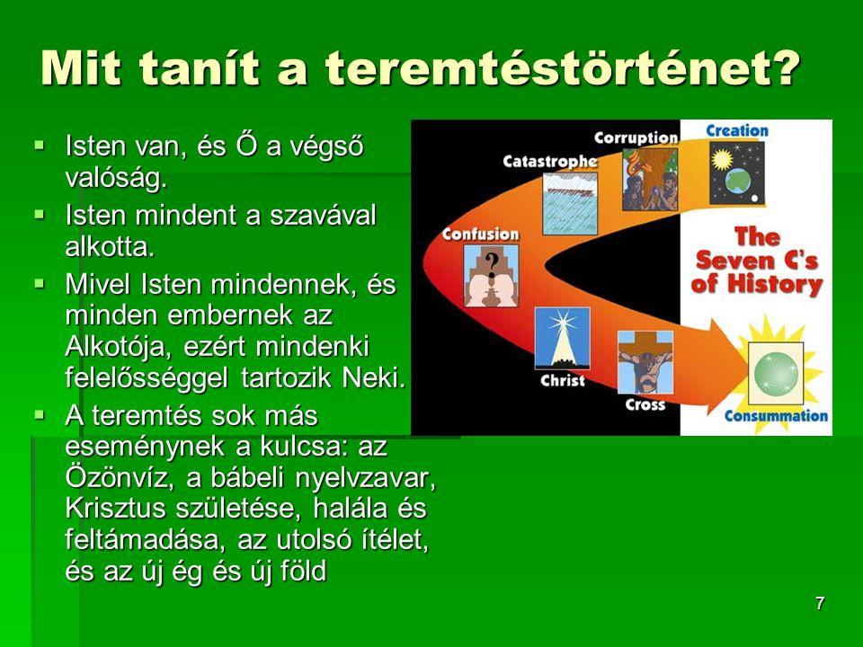 7 Mit tanít a teremtéstörténet. Isten van, és Ő a végső valóság.