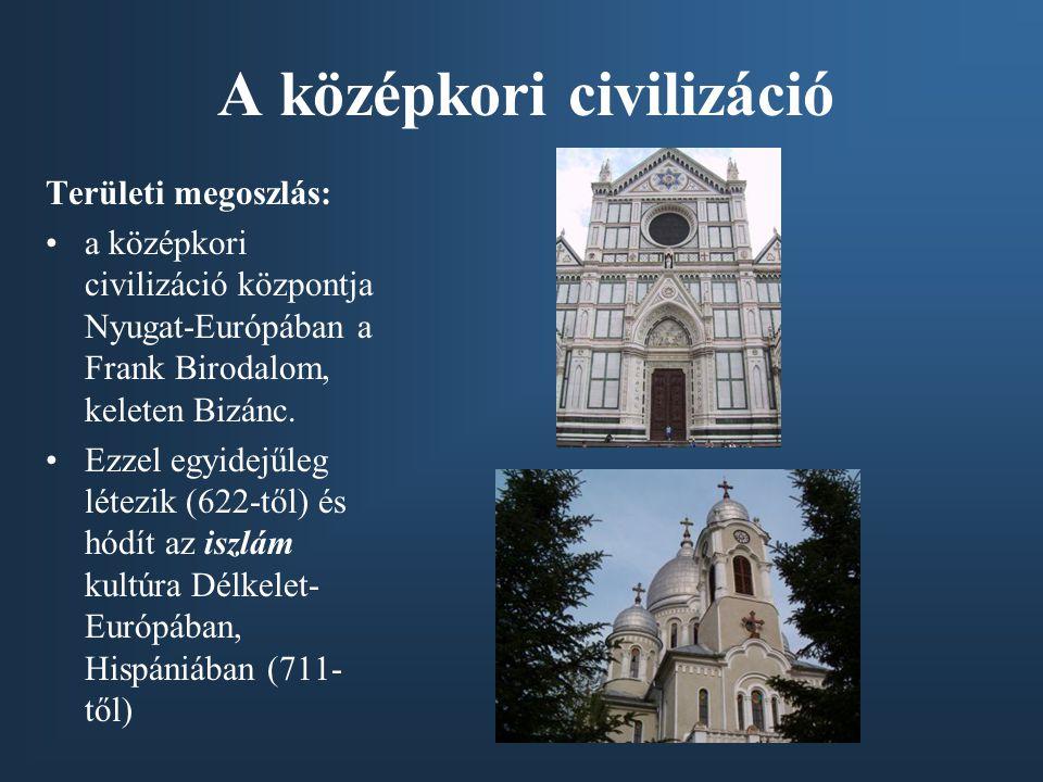 A középkori civilizáció Területi megoszlás: a középkori civilizáció központja Nyugat-Európában a Frank Birodalom, keleten Bizánc. Ezzel egyidejűleg lé