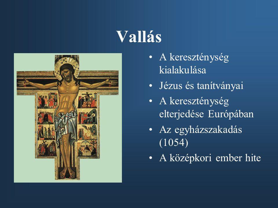 Vallás A kereszténység kialakulása Jézus és tanítványai A kereszténység elterjedése Európában Az egyházszakadás (1054) A középkori ember hite