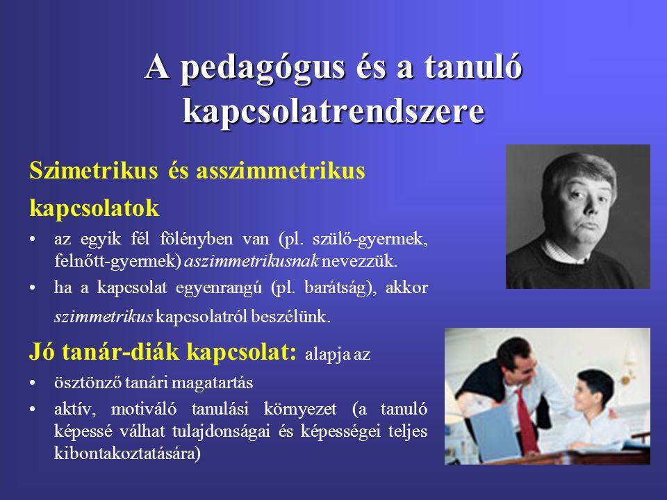 A pedagógus és a tanuló kapcsolatrendszere Szimetrikus és asszimmetrikus kapcsolatok az egyik fél fölényben van (pl. szülő-gyermek, felnőtt-gyermek) a