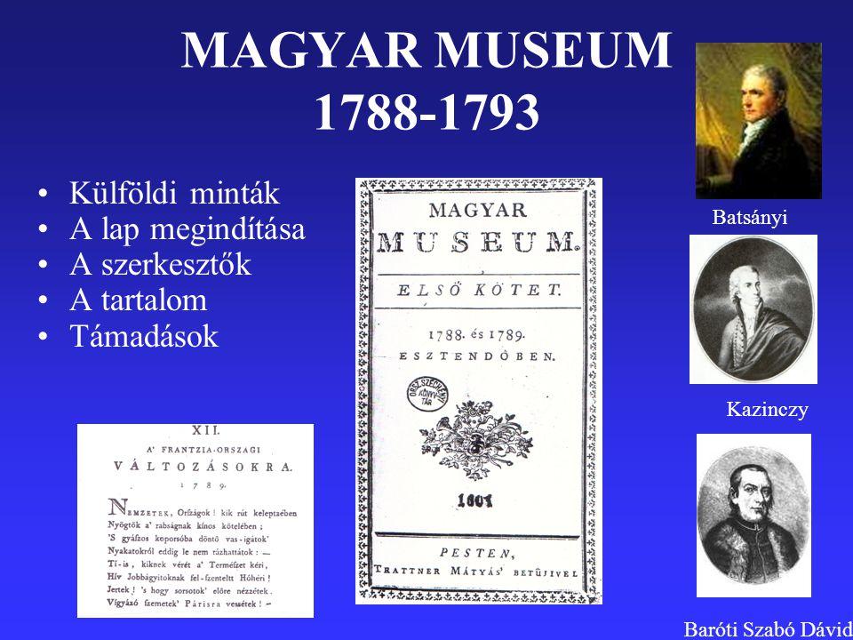 MAGYAR MUSEUM 1788-1793 Külföldi minták A lap megindítása A szerkesztők A tartalom Támadások Batsányi Kazinczy Baróti Szabó Dávid