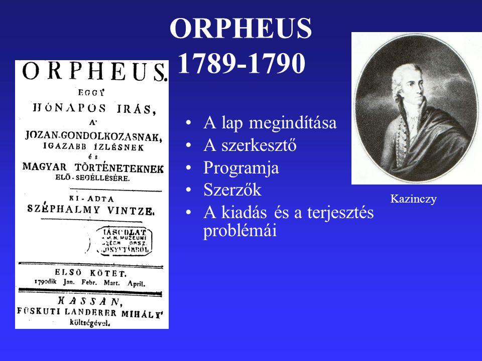 ORPHEUS 1789-1790 A lap megindítása A szerkesztő Programja Szerzők A kiadás és a terjesztés problémái Kazinczy
