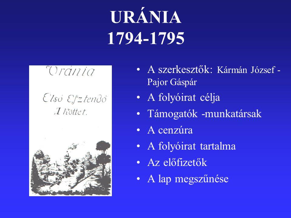 URÁNIA 1794-1795 A szerkesztők: Kármán József - Pajor Gáspár A folyóirat célja Támogatók -munkatársak A cenzúra A folyóirat tartalma Az előfizetők A lap megszűnése