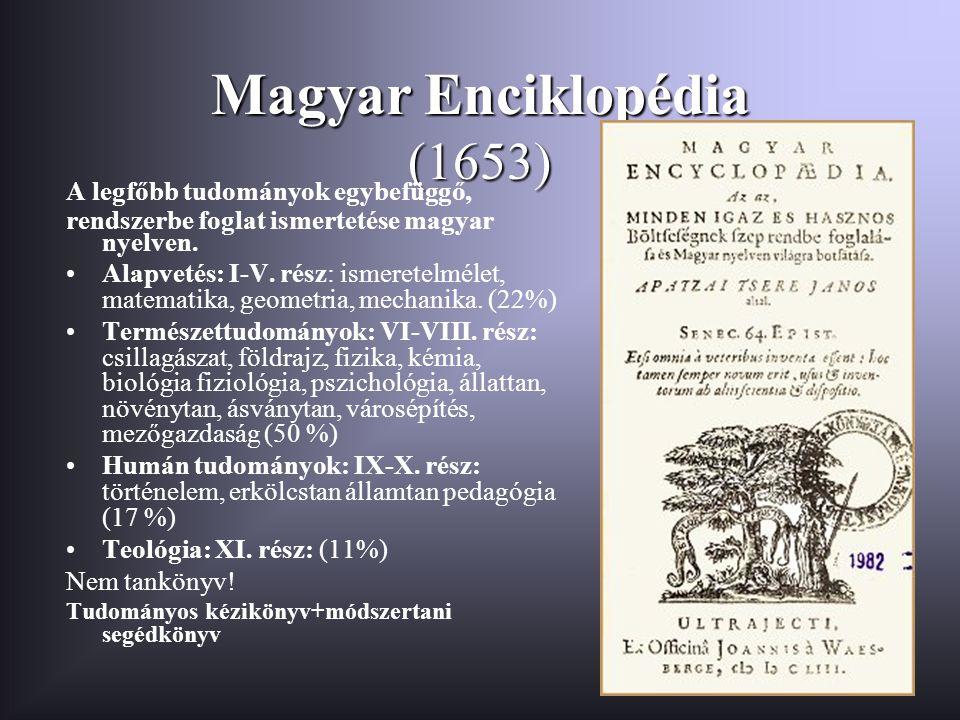 Magyar Enciklopédia (1653) A legfőbb tudományok egybefüggő, rendszerbe foglat ismertetése magyar nyelven. Alapvetés: I-V. rész: ismeretelmélet, matema