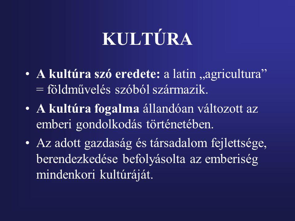 """KULTÚRA A kultúra szó eredete: a latin """"agricultura"""" = földművelés szóból származik. A kultúra fogalma állandóan változott az emberi gondolkodás törté"""