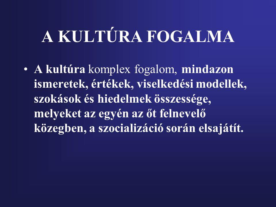 A KULTÚRA FOGALMA A kultúra komplex fogalom, mindazon ismeretek, értékek, viselkedési modellek, szokások és hiedelmek összessége, melyeket az egyén az