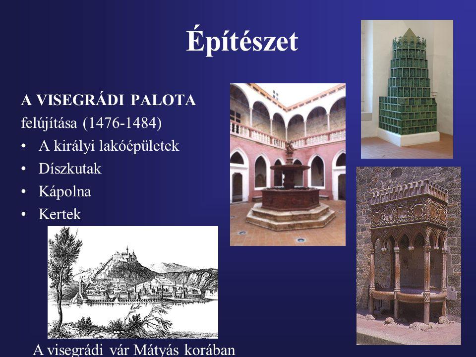 Építészet A VISEGRÁDI PALOTA felújítása (1476-1484) A királyi lakóépületek Díszkutak Kápolna Kertek A visegrádi vár Mátyás korában