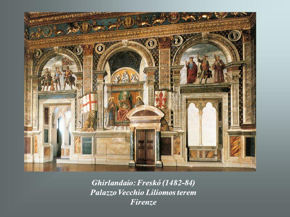 Ghirlandaio: Trónoló Madonna, szentekkel (1483) Uffizi Firenze