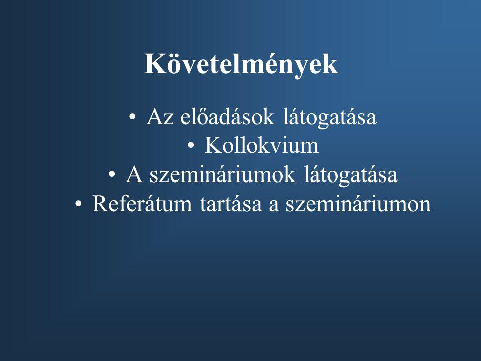 Követelmények Az előadások látogatása Kollokvium A szemináriumok látogatása Referátum tartása a szemináriumon