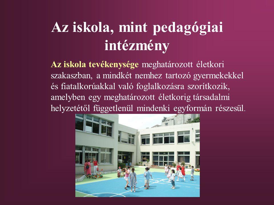 Az iskola, mint pedagógiai intézmény Az iskola tevékenysége meghatározott életkori szakaszban, a mindkét nemhez tartozó gyermekekkel és fiatalkorúakkal való foglalkozásra szorítkozik, amelyben egy meghatározott életkorig társadalmi helyzetétől függetlenül mindenki egyformán részesül.