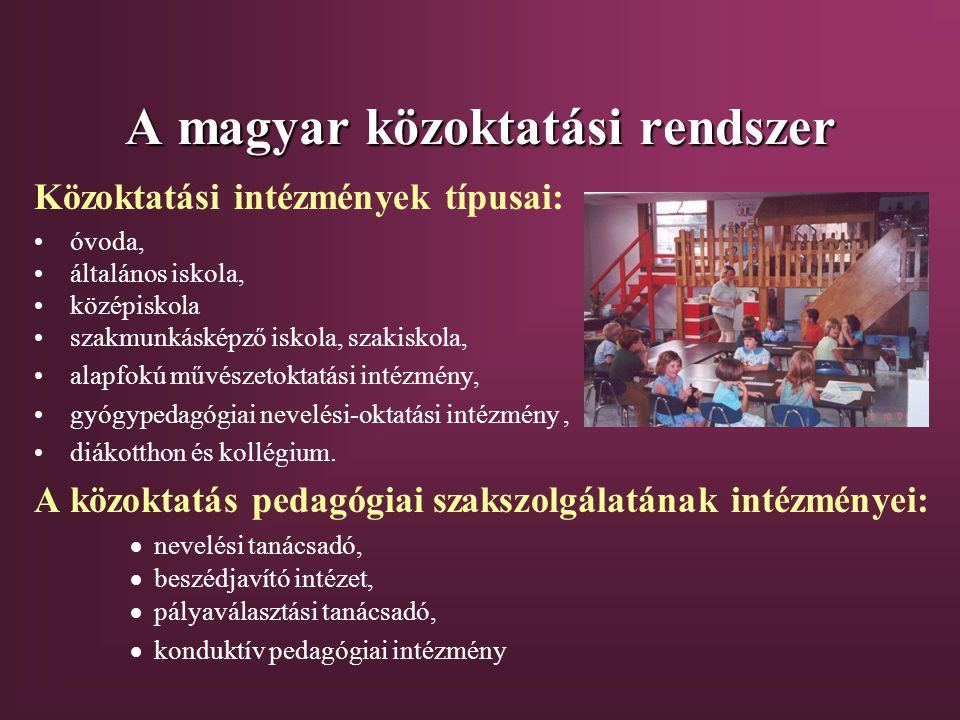 A magyar közoktatási rendszer Közoktatási intézmények típusai: óvoda, általános iskola, középiskola szakmunkásképző iskola, szakiskola, alapfokú művészetoktatási intézmény, gyógypedagógiai nevelési-oktatási intézmény, diákotthon és kollégium.