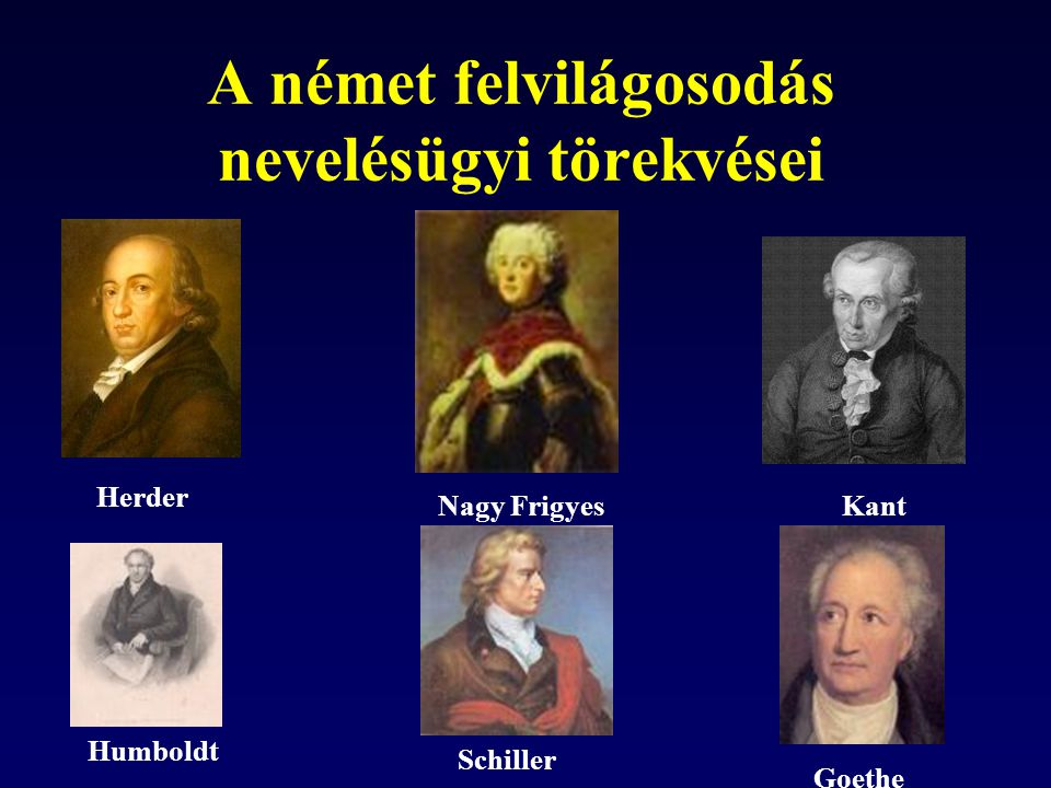 A német felvilágosodás nevelésügyi törekvései Herder Kant Humboldt Nagy Frigyes Goethe Schiller