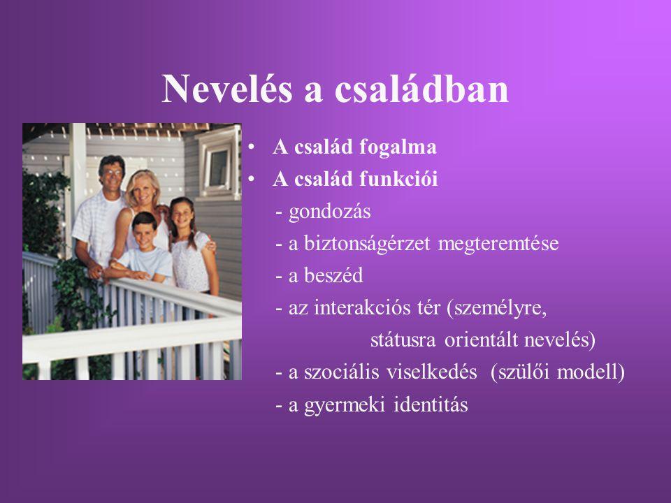 Nevelés a családban A család fogalma A család funkciói - gondozás - a biztonságérzet megteremtése - a beszéd - az interakciós tér (személyre, státusra