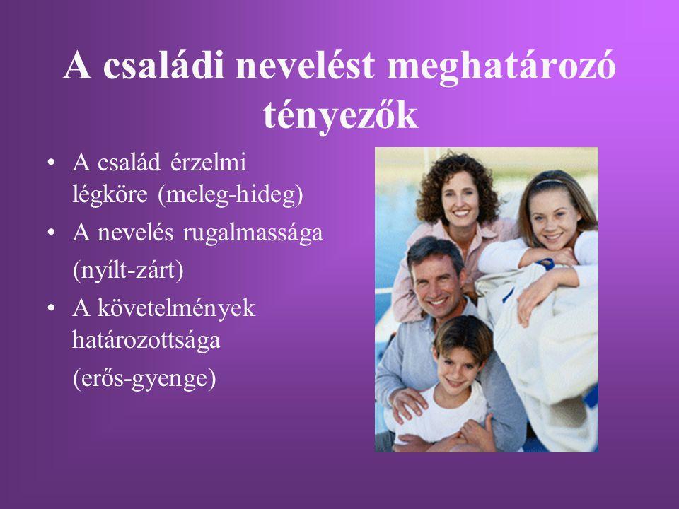 A családi nevelést meghatározó tényezők A család érzelmi légköre (meleg-hideg) A nevelés rugalmassága (nyílt-zárt) A követelmények határozottsága (erő