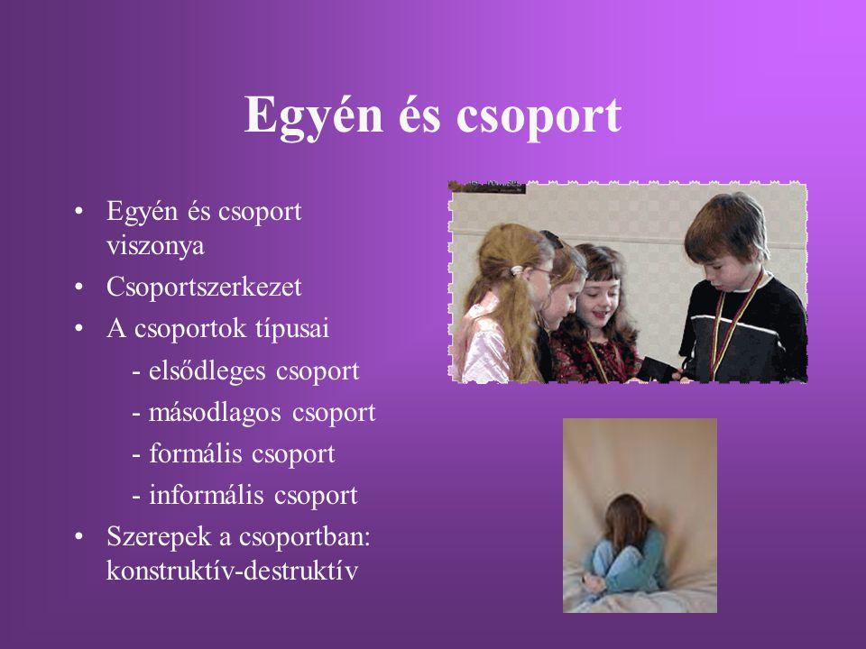 Egyén és csoport Egyén és csoport viszonya Csoportszerkezet A csoportok típusai - elsődleges csoport - másodlagos csoport - formális csoport - informá