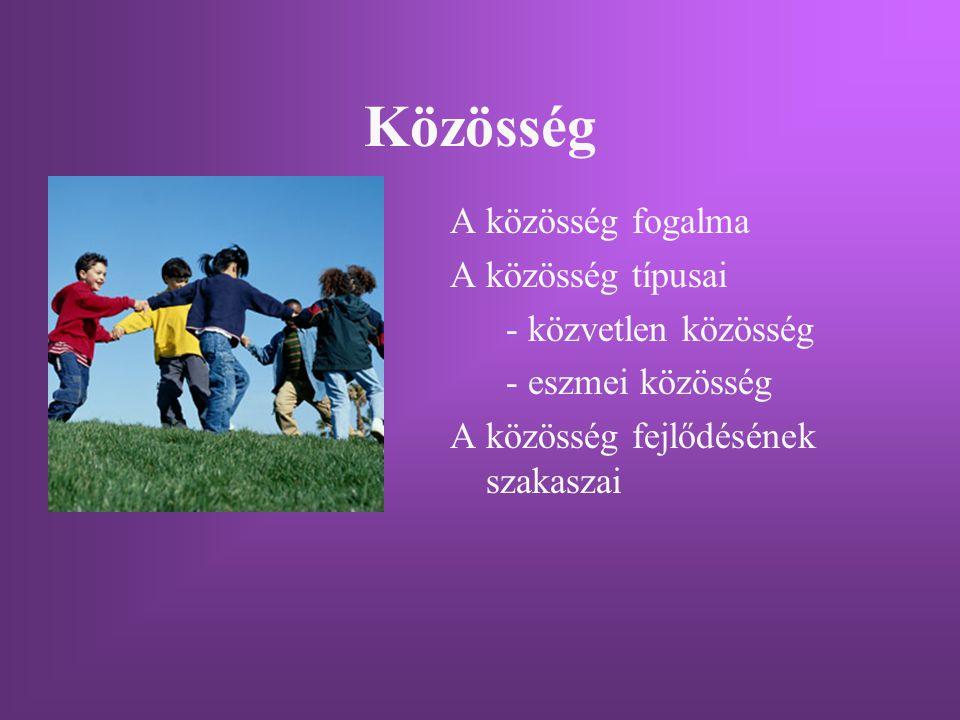 Közösség A közösség fogalma A közösség típusai - közvetlen közösség - eszmei közösség A közösség fejlődésének szakaszai