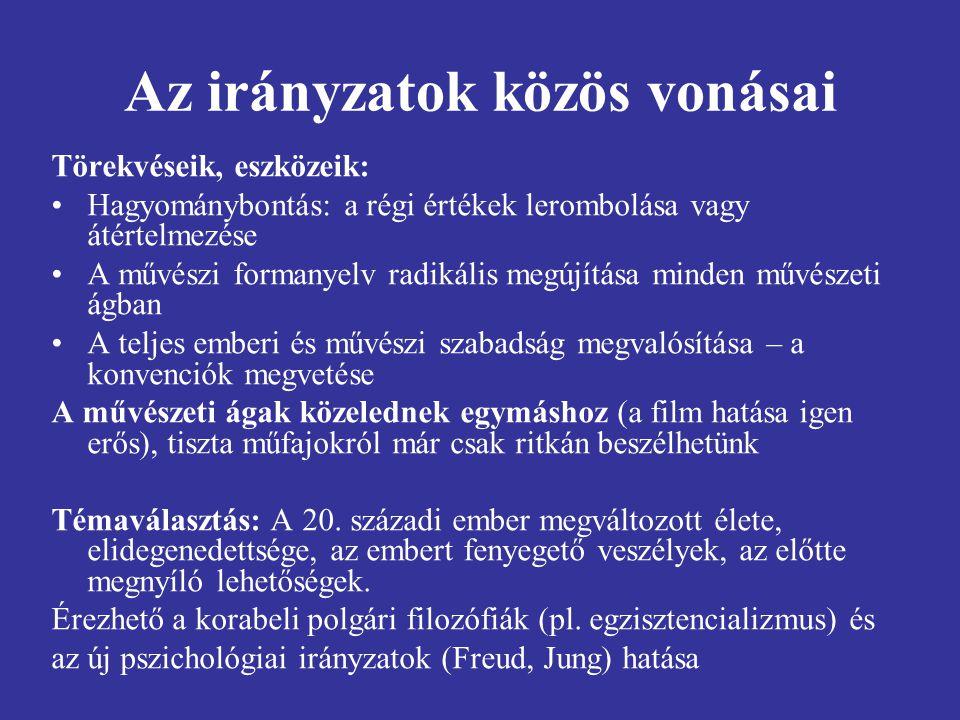 Az avantgárd irányzatok csoportosítása 1.