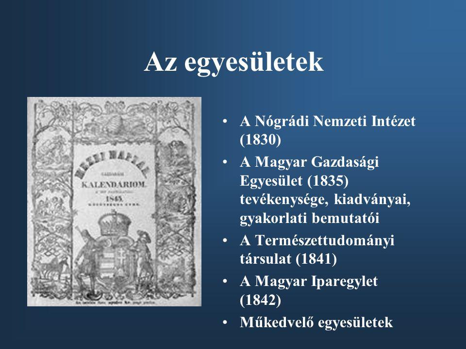 Az egyesületek A Nógrádi Nemzeti Intézet (1830) A Magyar Gazdasági Egyesület (1835) tevékenysége, kiadványai, gyakorlati bemutatói A Természettudományi társulat (1841) A Magyar Iparegylet (1842) Műkedvelő egyesületek