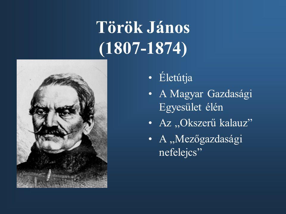 """Török János (1807-1874) Életútja A Magyar Gazdasági Egyesület élén Az """"Okszerű kalauz"""" A """"Mezőgazdasági nefelejcs"""""""