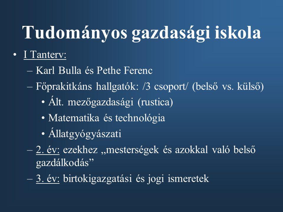 I Tanterv: –Karl Bulla és Pethe Ferenc –Főprakitkáns hallgatók: /3 csoport/ (belső vs.