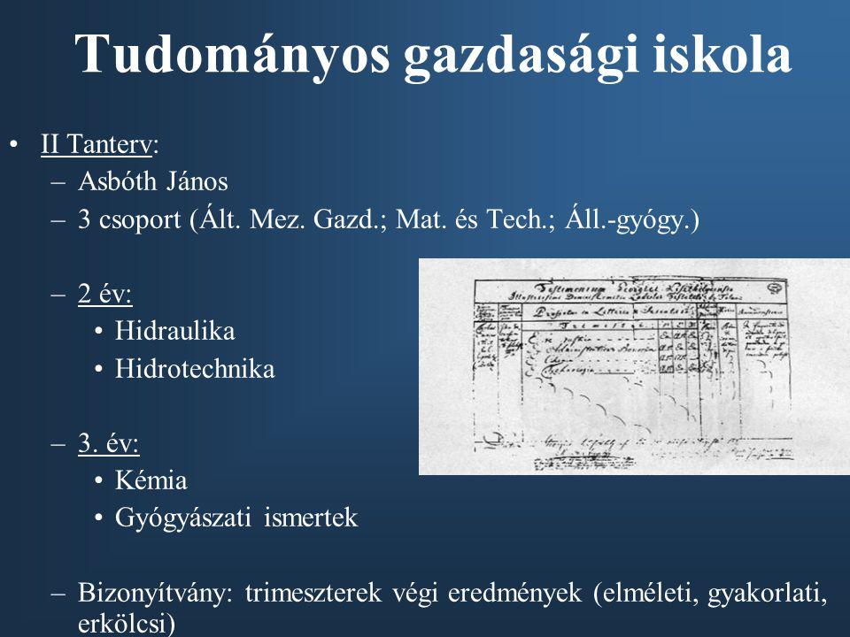 II Tanterv: –Asbóth János –3 csoport (Ált. Mez. Gazd.; Mat. és Tech.; Áll.-gyógy.) –2 év: Hidraulika Hidrotechnika –3. év: Kémia Gyógyászati ismertek