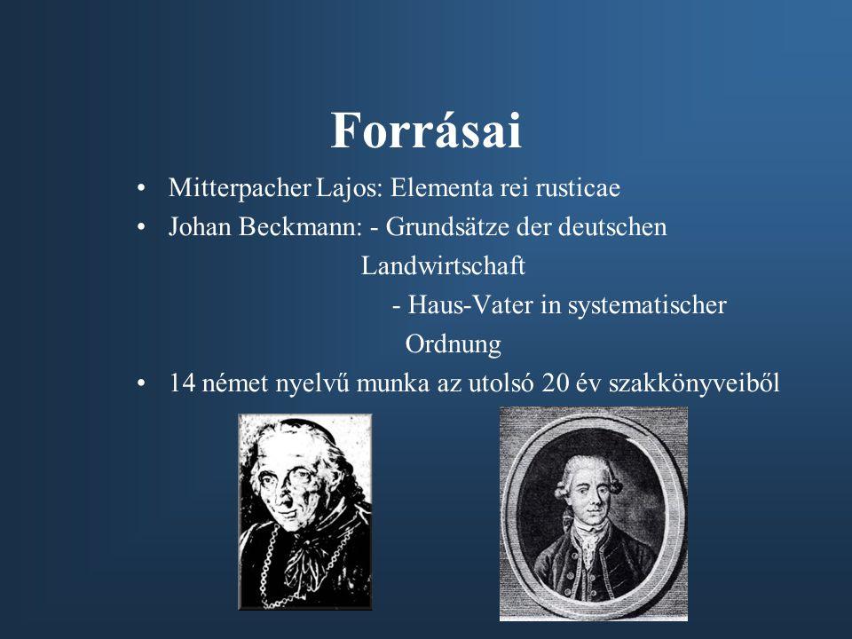 Forrásai Mitterpacher Lajos: Elementa rei rusticae Johan Beckmann: - Grundsätze der deutschen Landwirtschaft - Haus-Vater in systematischer Ordnung 14