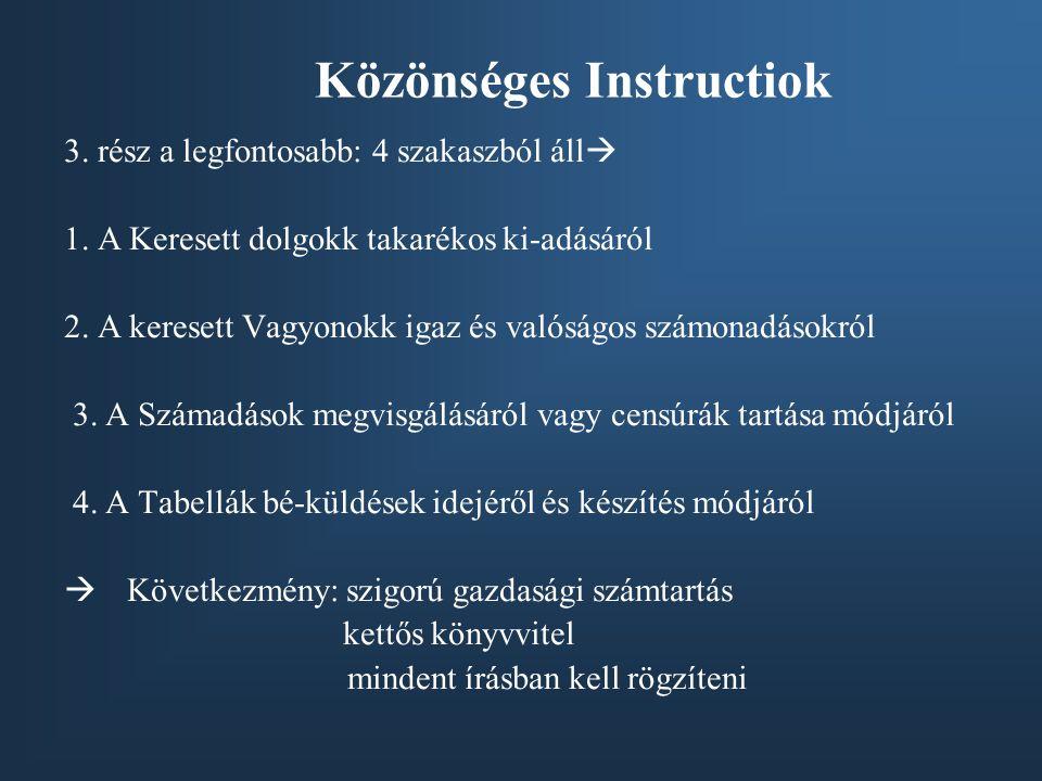 Közönséges Instructiok 3.rész a legfontosabb: 4 szakaszból áll  1.