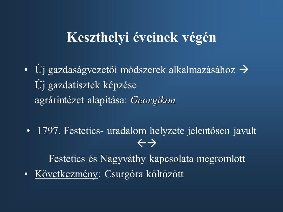 Keszthelyi éveinek végén Új gazdaságvezetői módszerek alkalmazásához  Új gazdatisztek képzése Georgikon agrárintézet alapítása: Georgikon 1797. Feste