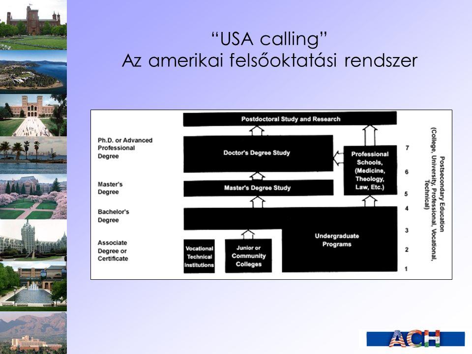 USA calling Nemzetközi hallgatók az USA-ban Folyamatosan nő a nemzetközi hallgatók száma az Egyesült Államokban: 1959: 48.000 – 1,4 % 1976: 200.000 – 1,8 % 1999: 500.000 – 3,8 % 2006: 582.984 – 3,9 %