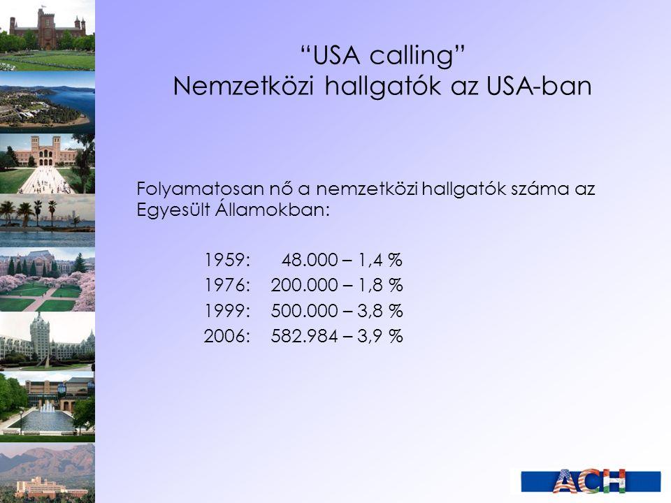 """""""USA calling"""" Nemzetközi hallgatók az USA-ban Folyamatosan nő a nemzetközi hallgatók száma az Egyesült Államokban: 1959: 48.000 – 1,4 % 1976: 200.000"""