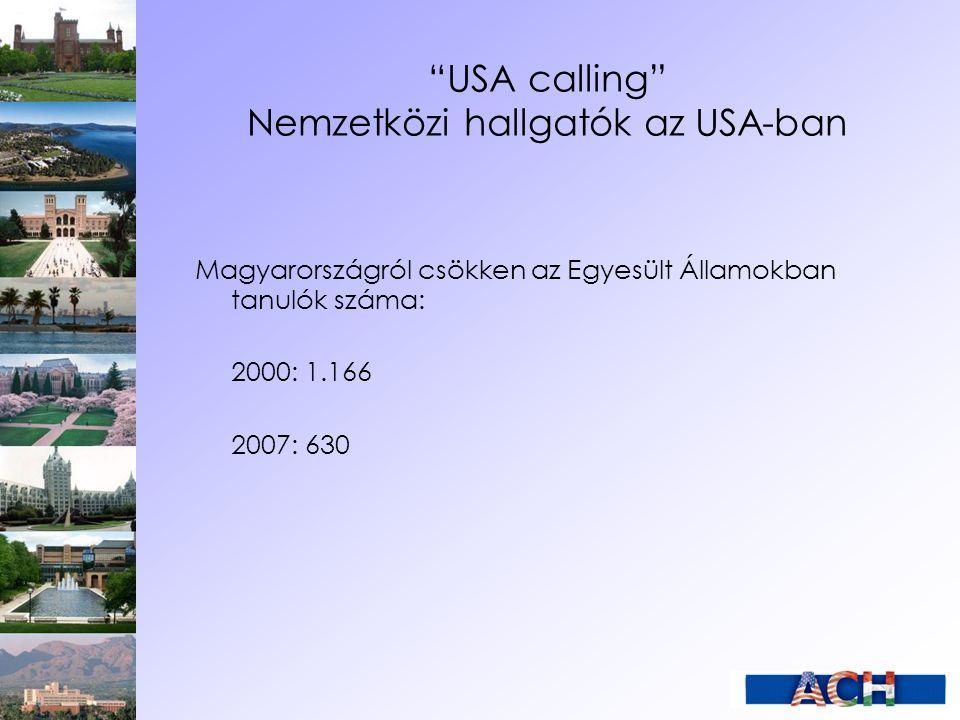 """""""USA calling"""" Nemzetközi hallgatók az USA-ban Magyarországról csökken az Egyesült Államokban tanulók száma: 2000: 1.166 2007: 630"""