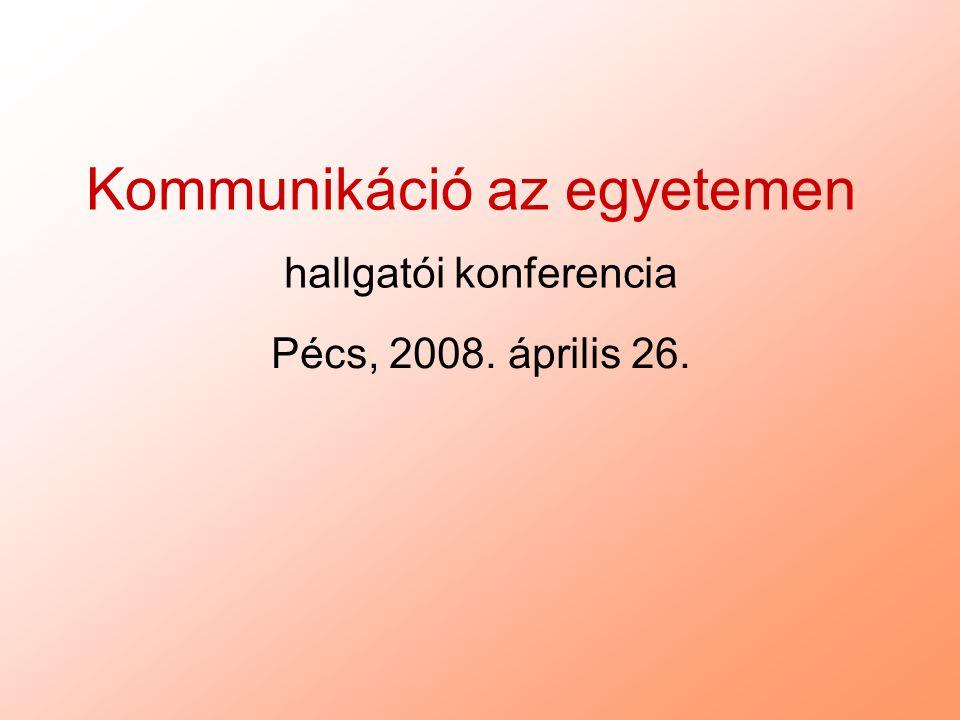 Kommunikáció az egyetemen hallgatói konferencia Pécs, 2008. április 26.