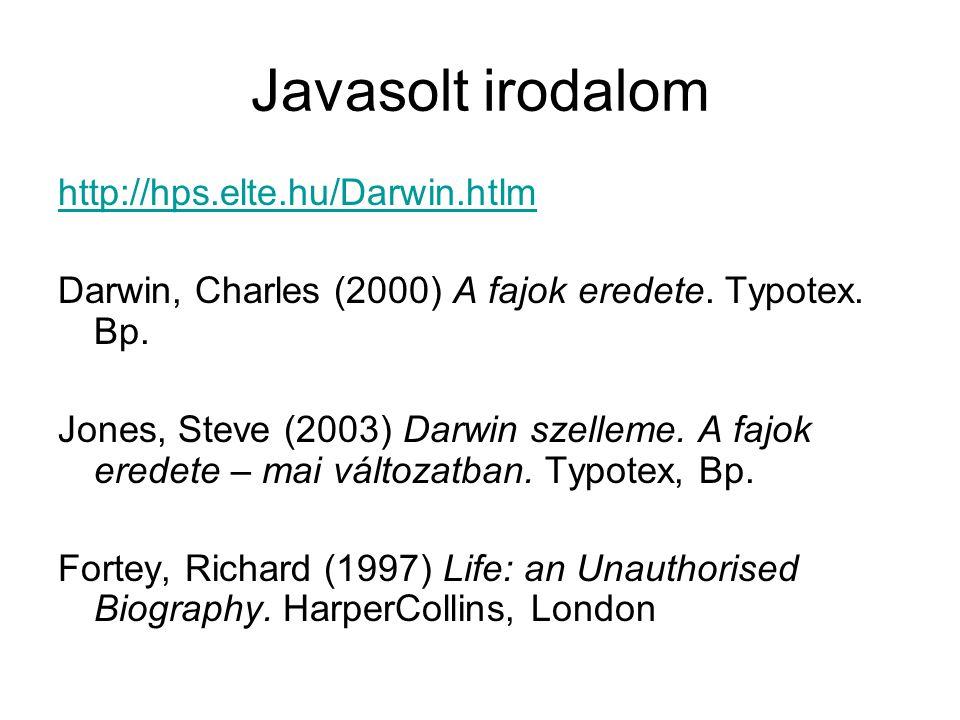 Javasolt irodalom http://hps.elte.hu/Darwin.htlm Darwin, Charles (2000) A fajok eredete.