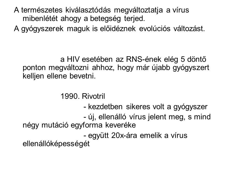 A természetes kiválasztódás megváltoztatja a vírus mibenlétét ahogy a betegség terjed. A gyógyszerek maguk is előidéznek evolúciós változást. a HIV es