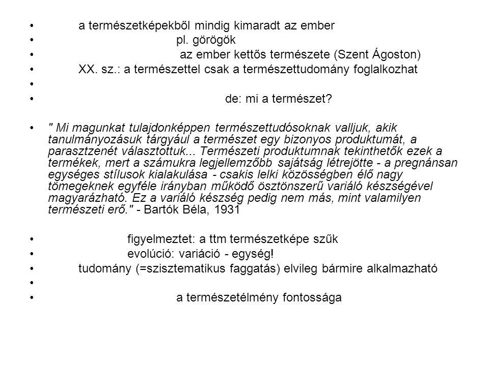 a természetképekből mindig kimaradt az ember pl. görögök az ember kettős természete (Szent Ágoston) XX. sz.: a természettel csak a természettudomány f