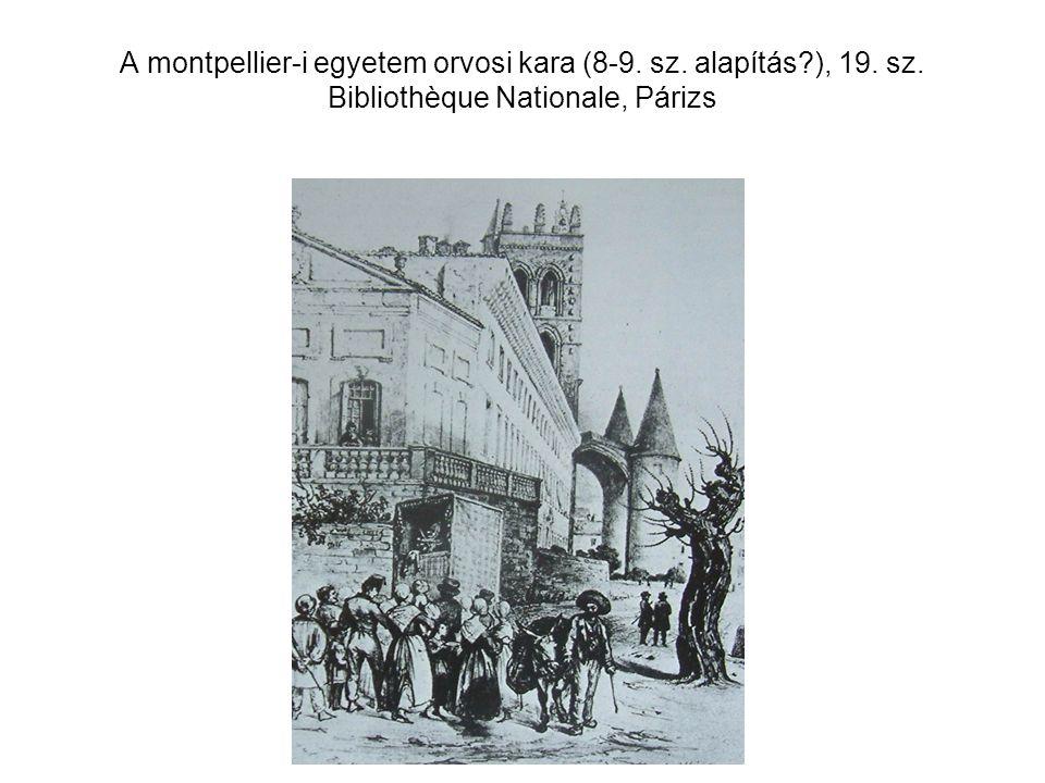 A montpellier-i egyetem orvosi kara (8-9. sz. alapítás?), 19. sz. Bibliothèque Nationale, Párizs