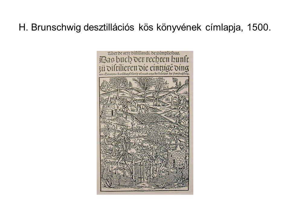 H. Brunschwig desztillációs kös könyvének címlapja, 1500.