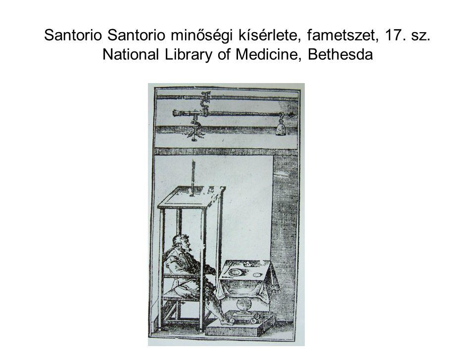 Santorio Santorio minőségi kísérlete, fametszet, 17. sz. National Library of Medicine, Bethesda