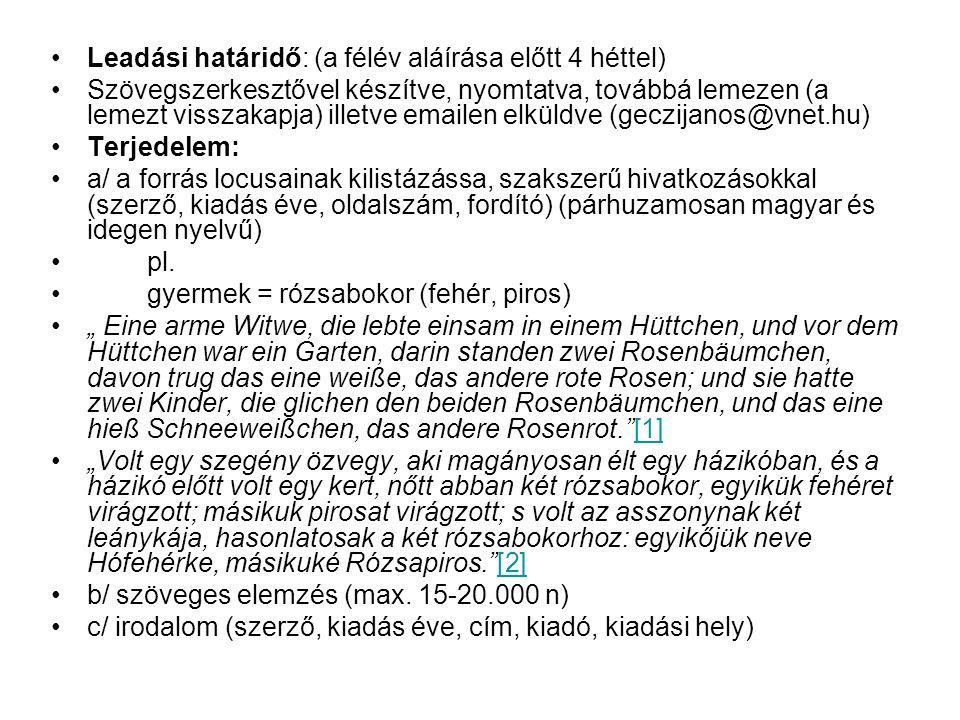 Leadási határidő: (a félév aláírása előtt 4 héttel) Szövegszerkesztővel készítve, nyomtatva, továbbá lemezen (a lemezt visszakapja) illetve emailen elküldve (geczijanos@vnet.hu) Terjedelem: a/ a forrás locusainak kilistázássa, szakszerű hivatkozásokkal (szerző, kiadás éve, oldalszám, fordító) (párhuzamosan magyar és idegen nyelvű) pl.