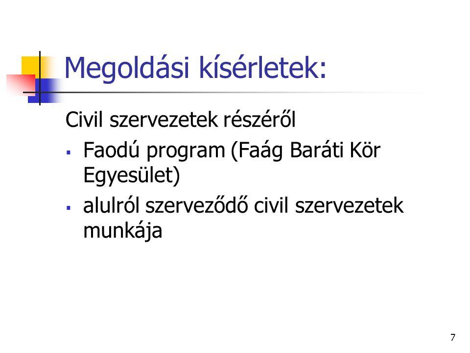7 Megoldási kísérletek: Civil szervezetek részéről  Faodú program (Faág Baráti Kör Egyesület)  alulról szerveződő civil szervezetek munkája